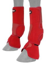 Horse Protective Sport & Bell Boots Combination in 1 - Vented - Red - Medium