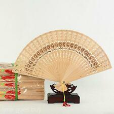 DIY Outdoor Camping Xmas Gift Portable Fans Flower Printing Hollow Wood Hand Fan