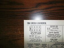 1964 Lincoln Continental EIGHT Series Models 430 CI V8 Tune Up Chart