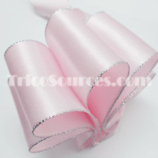 """Baby Shower Ribbon Satin Ribbon Silver Edge Double Faced 2""""(50mm)x25YDS - B4021"""