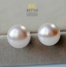Boucles d`Oreilles Puce Perle de Culture Plat Argent 925 Rose 15mm-16mm ENORME