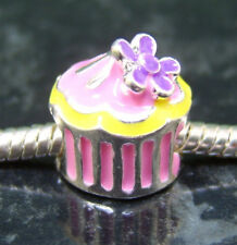 1 x Pretty pink cupcake with purple flower enamel EUROPEAN charm bead