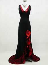 Cherlone Black Backless Lace Evening Prom Ballgown Formal Bridesmaid Dress UK 12