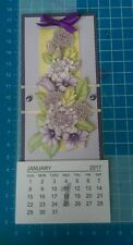 Handmade fridge magnet 2017 calendar - purple flowers