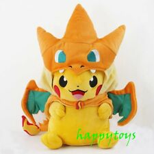 New 9'' Pokemon Pikachu With Charizard hat Plush Soft Toy Stuffed Animal Doll