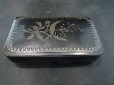 Rare c19th Antique Victorian Lacquered Snuff or Patch Box with White Metal Inlay