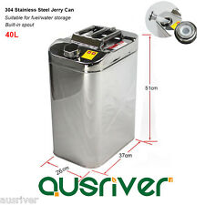 Premium Boat/4WD/Motorbike 40L Jerry Can Fuel/Water Storage 304 Stainless Steel