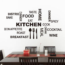 Wall Sticker Quote Kitchen Tools Design Vinyl Decal Words for Kitchen Removable