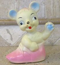 Vintage Soft Rubber Rubbertoys Italy Squeaky Toy Baby Mouse or Rat in Shoe 5.5""