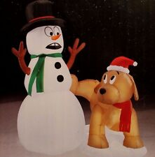 AIRBLOWN INFLATABLE 3.5 FT LED LIGHTED SNOWMAN DOG PEEING CHRISTMAS YARD DECOR
