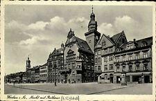 1940 Stempel u. Postkarte Werdau in Sachsen Straßenpartie am Markt mit Rathaus