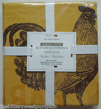 WILLIAMS SONOMA~FARMHOUSE ROOSTER~KITCHEN TOWELS-SET OF 2~GOLD~BRAND NEW IN PKG