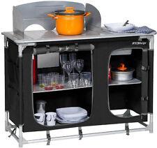 Kückenbox Campingküche Küchenschrank mit Spüle, schwarz für Zelt, Vorzelt