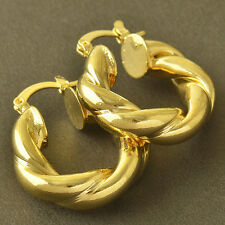 Yellow Gold Plated Womens Childrens Smooth Twisted Hoop Earrings Korean Jewelry