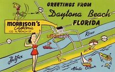GREETINGS FROM DAYTONA BEACH, FL and Morrison's Cafeteria, N. Beach St 1953