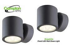 2 x Crompton LED Fixed Outdoor Exterior Wall Down Lights - Graphite 240V
