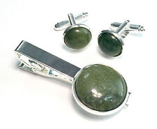 Irish Connemara Marble Cufflinks & Tie Bar Set - Silver Plate