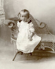 Victorian child mourning epaulets, wicker furniture, fashion 1890 studio photo
