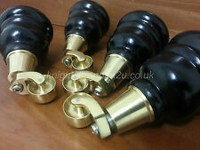 4x WOODEN FURNITURE LEGS/FEET WITH BRASS CASTORS, SETTEE CHAIRS, SOFAS, M8(8mm)
