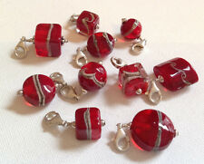 Lela Belle Hand Blown Murano Glass Beads - Set of 10 - Shades of Red B27