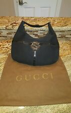 Authentic GUCCI Logos Shoulder Bag Canvas Leather Black Italy Vintage