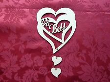 MDF Wooden MDF Wooden 'It's a boy' hanging heart. Craft wall door hanging art