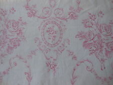 Antique Vintage French Pink Shabby Cottage Cameo Roses Scroll Cotton Fabric