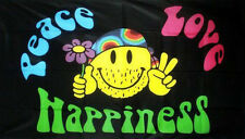 PEACE LOVE HAPPINESS FLAG 5' x 3' Smiley Face Hippy Music Festival