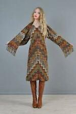 Missoni Dress Brown Green Wool Attached Fringed Scarf Vintage 90s NWOT 40 4 S