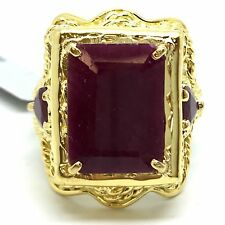 14K Yellow Gold Large Rectangular Natural Red Stone(Ruby) Ring. July Birthstone