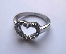 Cubic Zirconia Sterling Silver Heart shaped cut out Ring Size M 3.5g