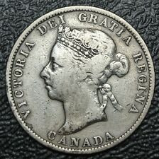 OLD CANADIAN COIN - 1886 - 25 CENTS - QUARTER - .925 SILVER - Victoria - OBV 5