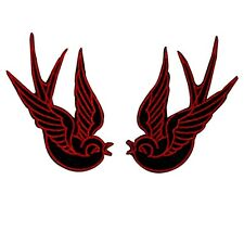Red Black Tattoo Sparrow Swallow Biker New Punk Badge Applique Patch
