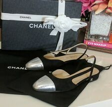 Authentic Receipt BNIB Chanel Slingback Flats Two Tone Black Suede Silver EU36.5