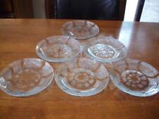 6 BEAUTIFUL KIG INDONESIA GLASS CAKE PLATE SAUCER WITH GRID PATTERN-EXCELLENT