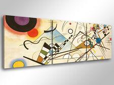 Quadro Moderno 3 pz. KANDINSKY - COMP. VIII cm 150x50 arredamento stampa tela