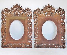 "13.1"" Pair Antique Chinese Export Carved Wood Frames w/ Scholars, Trees & Pagoda"