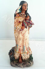 11 Inch Indian Girl w/ Baby Statue Figure Figurine Warrior Indio India American