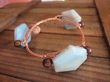 Handmade in USA Designer Inspired Bangle Bracelet with Copper wire and Gemstones