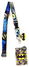 DC COMICS BATMAN LOGO RUBBER CHARM LANYARD BADGE ID HOLDER KEYCHAIN W/ STICKER