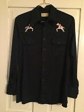 Vintage Embroidered Western Wear Rodeo Womens Cowboy Shirt Large Prince Ferrari