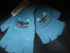 NWT Cute Blue Alien Disney Lilo & Stitch Face Fingerless Knit Gloves