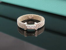 Authentic Tiffany & Co Silver Thin Somerset Diamond Ring Size 4.5 Box Included