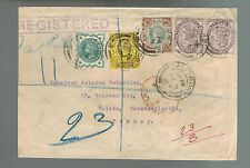 1900 Salisbury England Registered stamp dealer cover to Galata Turkey Cinderella