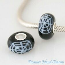 HALLOWEEN SPIDER WEB MURANO GLASS .925 Sterling Silver EUROPEAN Bead Charm