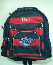 Pottery Barn Kids Small Fairfax Blue Red Striped Dragon Backpack name DALE New!
