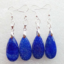 2 Pair Of Beautiful Blue Dragon Veins Agate Teardrop Earring F0024597