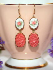 Vintage Japan Coral pressed carved floral Rose transfer milk glass earrings