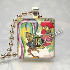 ROOSTER CHICKEN FARM COUNTRY Scrabble Tile Altered Art Pendant Jewelry Charm
