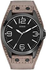 NEW GUESS BLACK TONE,GRAY SUEDE BAND,BLACK DIAL CUFF WATCH-U0181G3